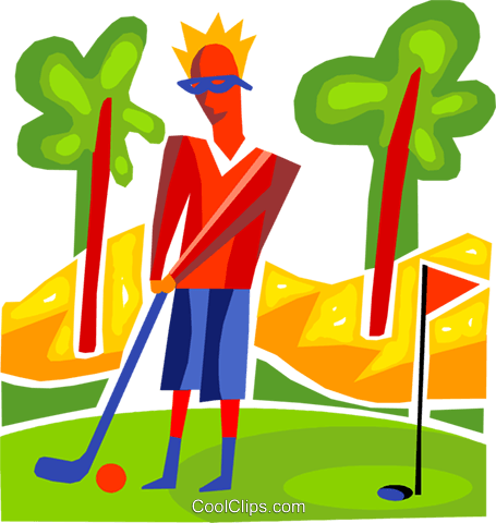 Man playing golf Royalty Free Vector Clip Art illustration vc093686