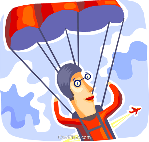 Skydiving Royalty Free Vector Clip Art illustration vc093702