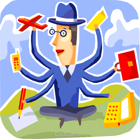 Juggling and Multitasking Royalty Free Vector Clip Art illustration vc093709