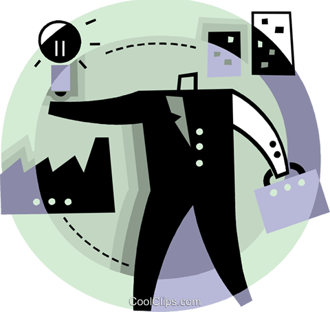 man with and idea for his company Royalty Free Vector Clip Art illustration vc093807