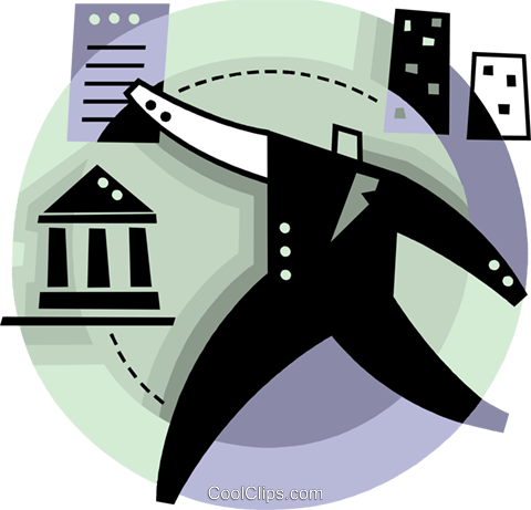 Businessman with bank loan Royalty Free Vector Clip Art illustration vc093808