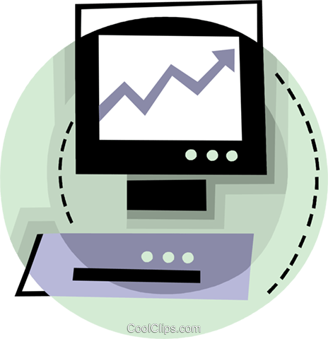 Computer with chart Royalty Free Vector Clip Art illustration vc093814