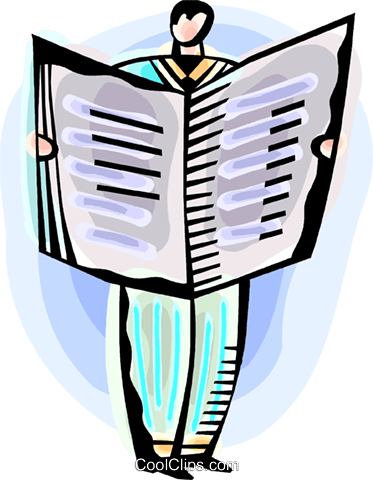Man reading the newspaper Royalty Free Vector Clip Art illustration vc093817