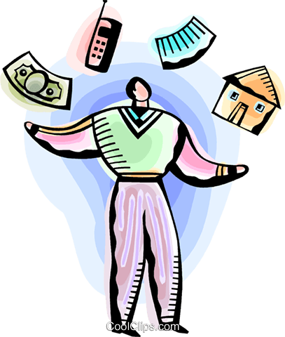 Man juggling home, work and money Royalty Free Vector Clip Art illustration vc093819