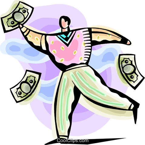 Businessman chasing money Royalty Free Vector Clip Art illustration vc093820