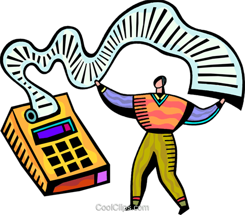 Accountant and his calculator Royalty Free Vector Clip Art illustration vc093842