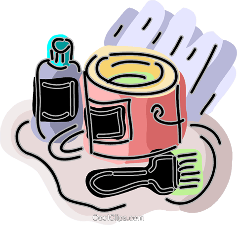 Paint can with brush Royalty Free Vector Clip Art illustration vc093877