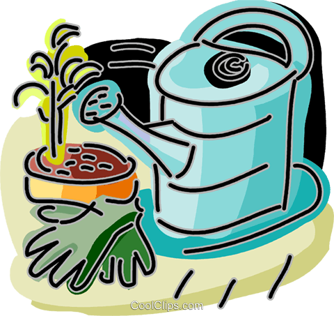 Watering can with gardening gloves Royalty Free Vector Clip Art illustration vc093878