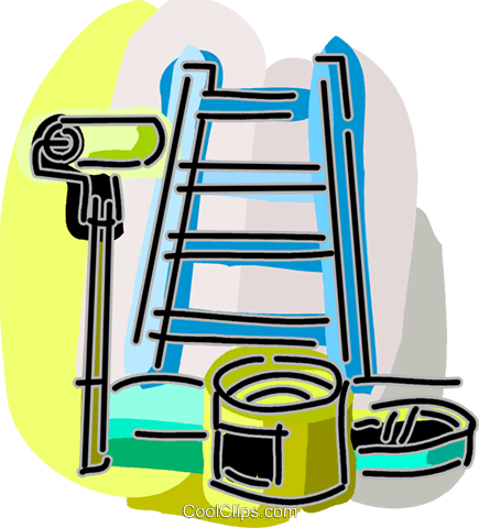 Ladder with paint can and paint roller Royalty Free Vector Clip Art illustration vc093882