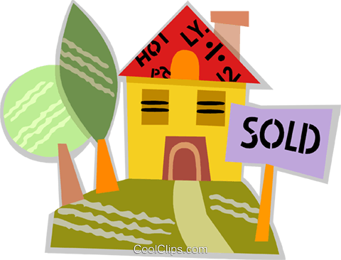 House with a sold sign on the lawn Royalty Free Vector Clip Art illustration vc093889