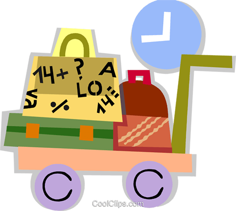 Luggage cart Royalty Free Vector Clip Art illustration vc093892