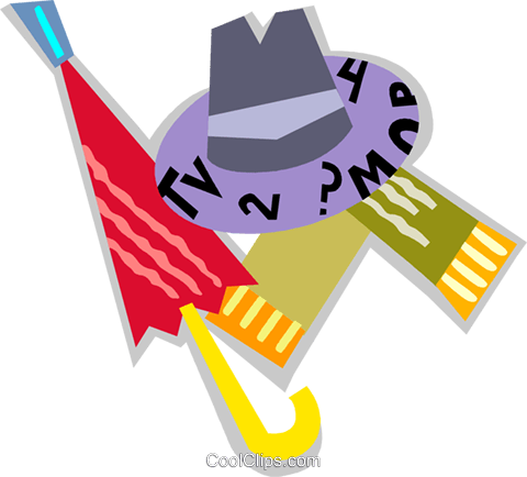 Hat and umbrella Royalty Free Vector Clip Art illustration vc093893