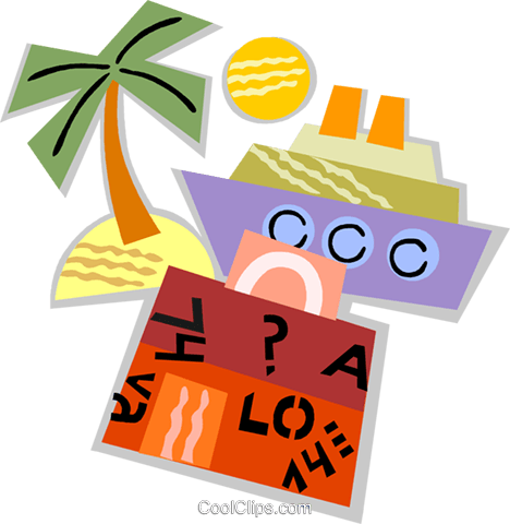 Cruise ship and luggage Royalty Free Vector Clip Art illustration vc093894