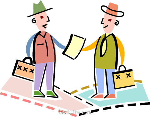 Businessmen agreeing on a contract Royalty Free Vector Clip Art illustration vc093907