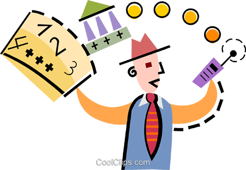 Businessman calling for a bank loan Royalty Free Vector Clip Art illustration vc093917