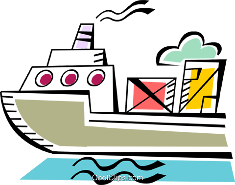 Ships Carrying Cargo and Freight Royalty Free Vector Clip Art illustration vc093940