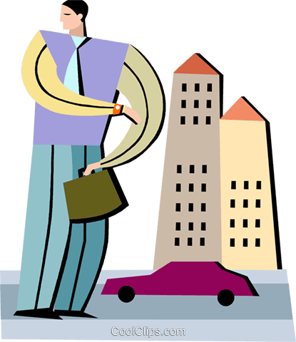 Businessman with buildings and car Royalty Free Vector Clip Art illustration vc093949
