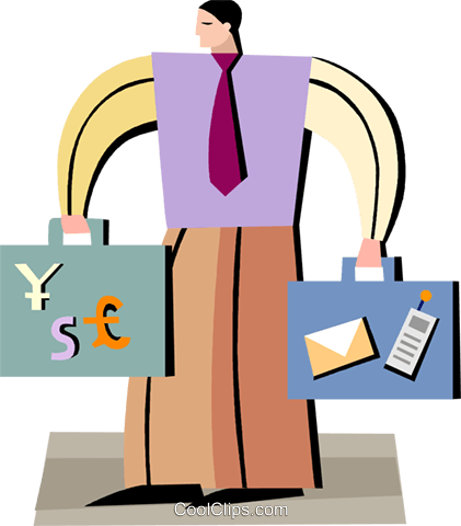 man with briefcases full of money Royalty Free Vector Clip Art illustration vc093950