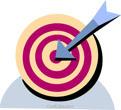 Target and arrow Royalty Free Vector Clip Art illustration vc093957