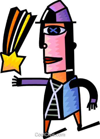 Man catching a shooting star Royalty Free Vector Clip Art illustration vc093961