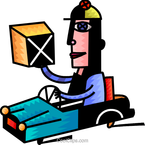 Courier delivering packages Royalty Free Vector Clip Art illustration vc093963