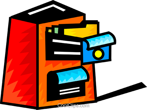 Opened filing cabinet Royalty Free Vector Clip Art illustration vc093969
