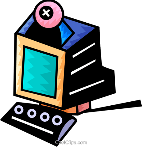 Computer with camera Royalty Free Vector Clip Art illustration vc093971