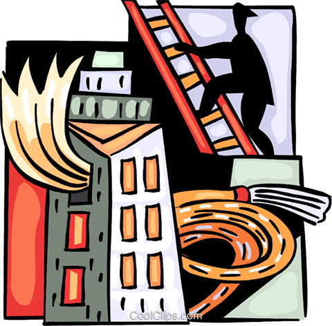 Fire fighter climbing ladder with hose Royalty Free Vector Clip Art illustration vc093984
