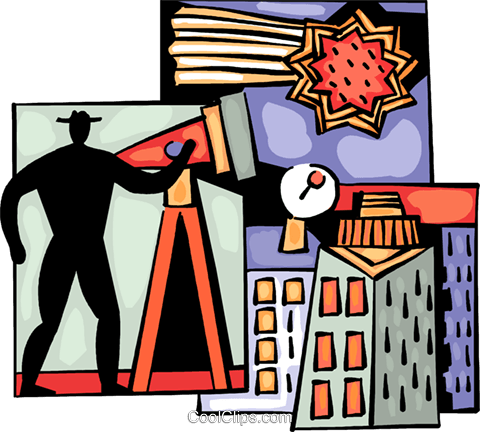 Man looking through telescope Royalty Free Vector Clip Art illustration vc093989