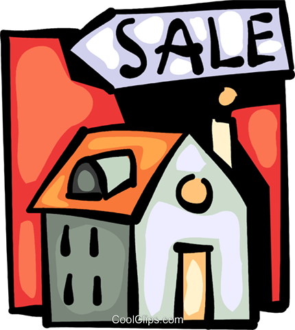 House for sale Royalty Free Vector Clip Art illustration vc093994