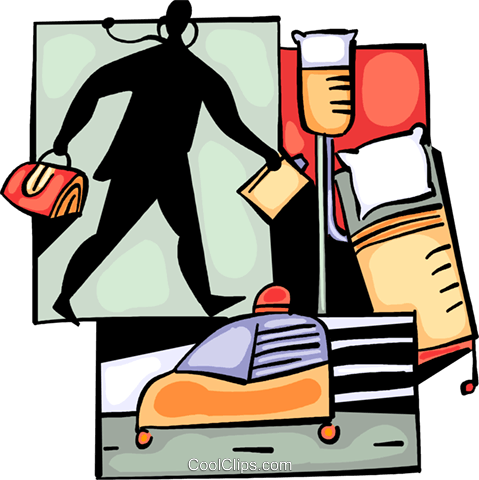 Doctor with ambulance and stretcher Royalty Free Vector Clip Art illustration vc093999