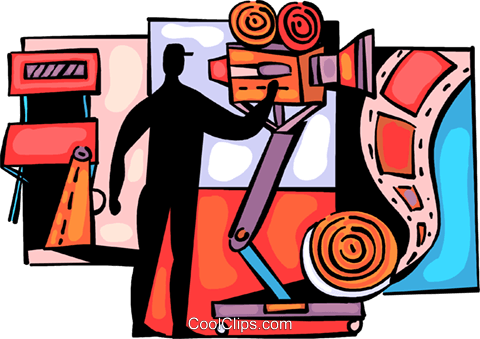Cameraman filming movie Royalty Free Vector Clip Art illustration vc094004