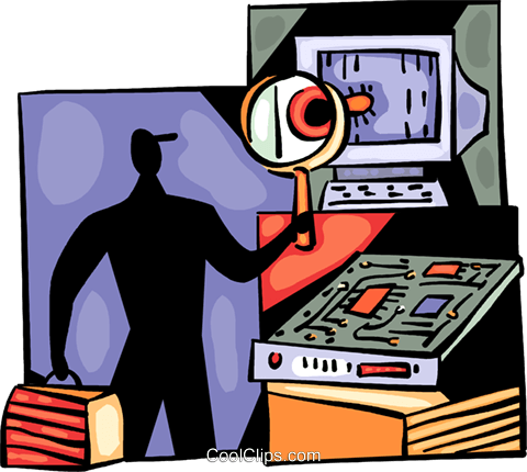 Computer technician with system virus Royalty Free Vector Clip Art illustration vc094012