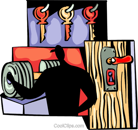 Key maker with door and keys Royalty Free Vector Clip Art illustration vc094013