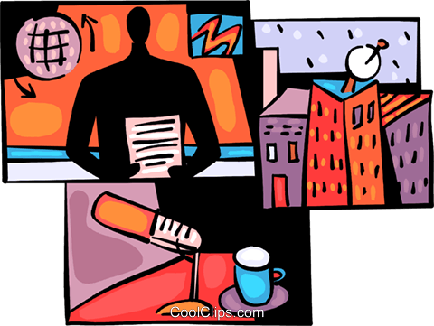 News broadcaster with microphone Royalty Free Vector Clip Art illustration vc094014