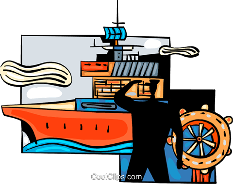 Captain at wheel of aircraft carrier Royalty Free Vector Clip Art illustration vc094017