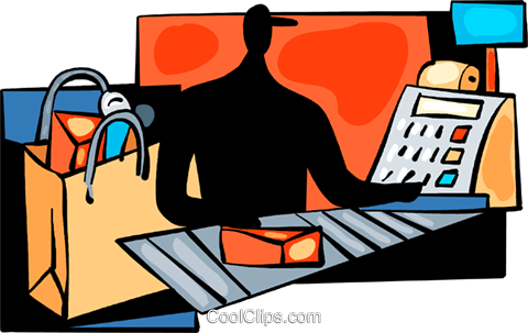 Cashier at grocery store Royalty Free Vector Clip Art illustration vc094028