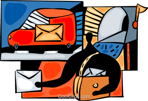 Postman delivering mail Royalty Free Vector Clip Art illustration vc094034
