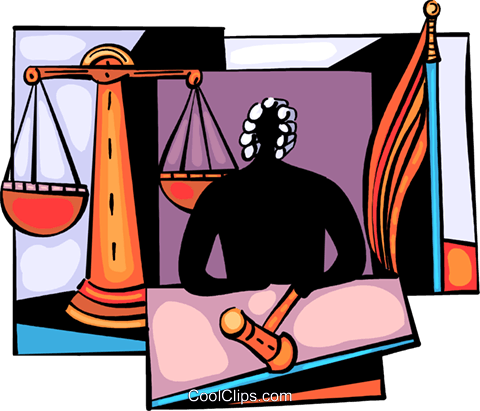 Judge with gavel and scales of justice Royalty Free Vector Clip Art illustration vc094035