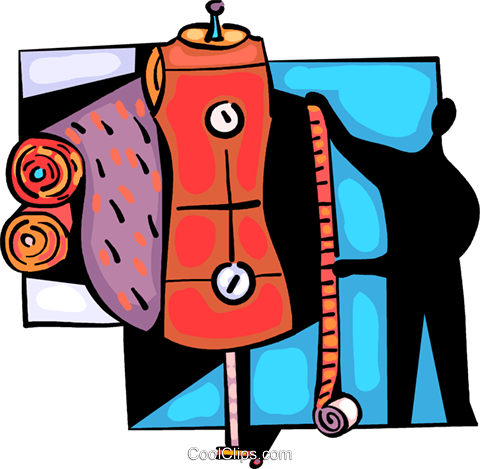 Seamstress taking measurements Royalty Free Vector Clip Art illustration vc094038