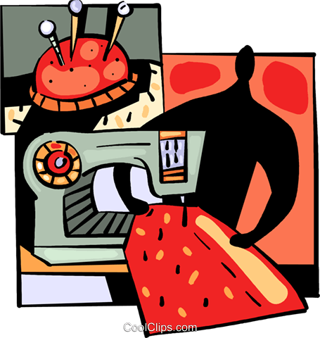 Seamstress sewing garment Royalty Free Vector Clip Art illustration vc094040
