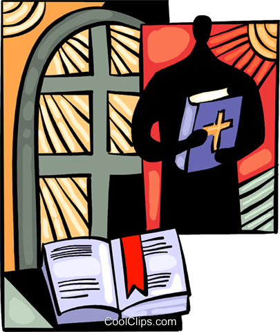 Minister with bible Royalty Free Vector Clip Art illustration vc094044