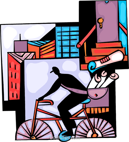 Paperboy delivering newspapers Royalty Free Vector Clip Art illustration vc094046