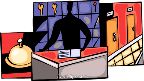 Person working the front desk of hotel Royalty Free Vector Clip Art illustration vc094048