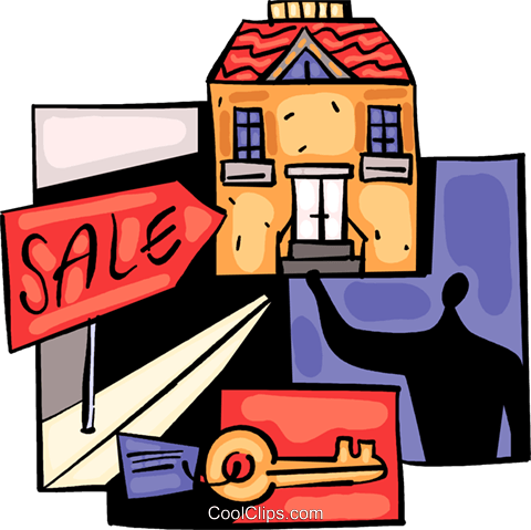 Real Estate agent selling home Royalty Free Vector Clip Art illustration vc094049