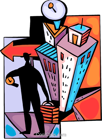 Man leaving his apartment Royalty Free Vector Clip Art illustration vc094052