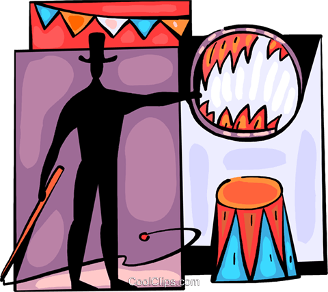 Circus performer with flaming hoop Royalty Free Vector Clip Art illustration vc094055