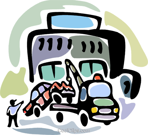 Tow truck driver loading car Royalty Free Vector Clip Art illustration vc094072