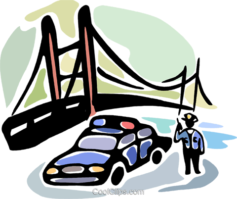 Police officer by bridge on his two way Royalty Free Vector Clip Art illustration vc094074