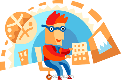 Doing Paperwork Royalty Free Vector Clip Art illustration vc094104